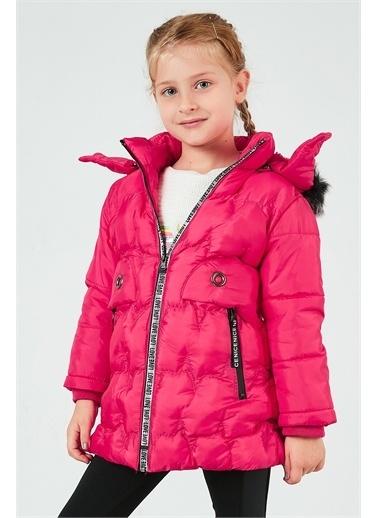 Lela Lela Suni Kürklü Çıkarılabilir Kapüşon Uzun Şişme Kız Çocuk   Pembe
